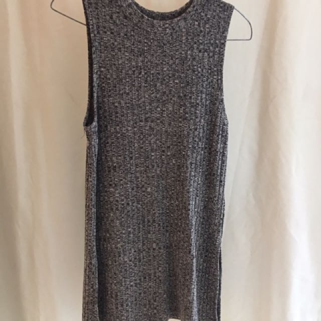 Ally ribbed grey sleeveless top