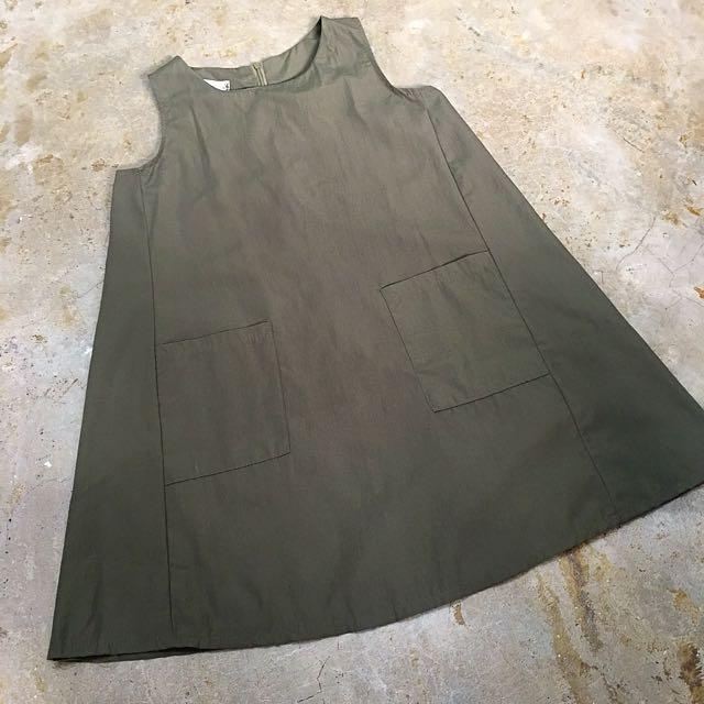 Army Green Sleeveless Dress