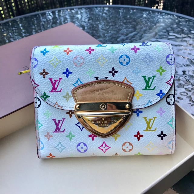 Authentic Used LOUIS VUITTON Multicolor Joey Wallet White
