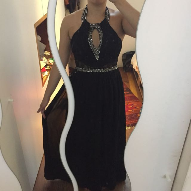 BLACK SEQUINNED Evening gown dress