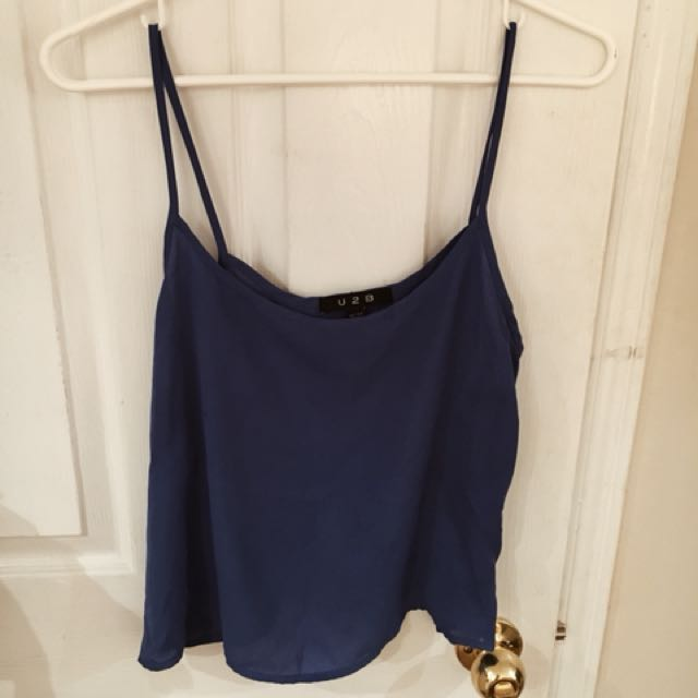 Blue silk tank top