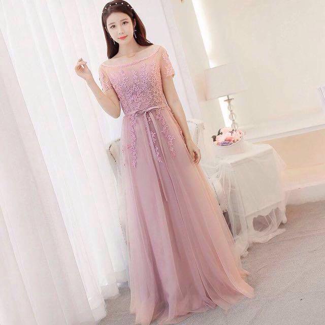 Blush Pink Off Shoulder Dinner Dress