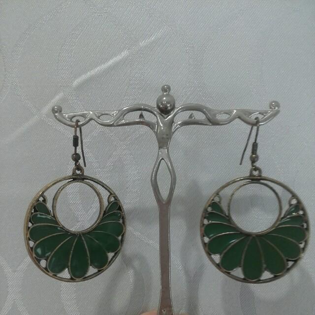 Boho brass and green hanging earrings
