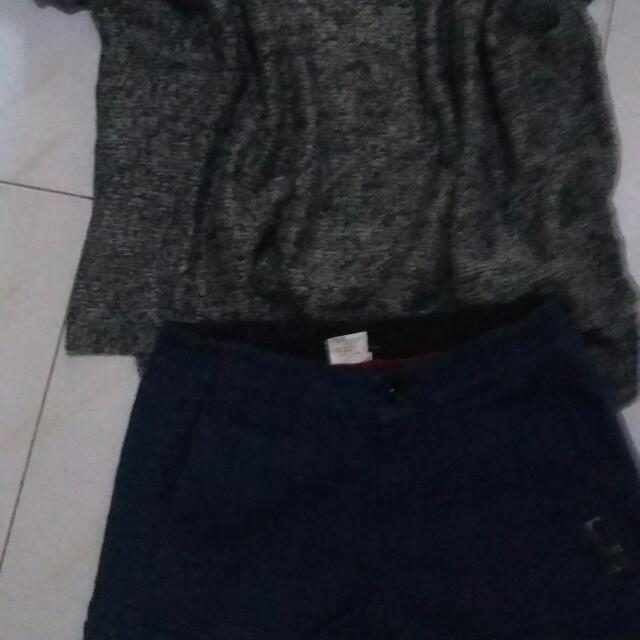 Bundle Short And Crop Top Knitted Blouse.