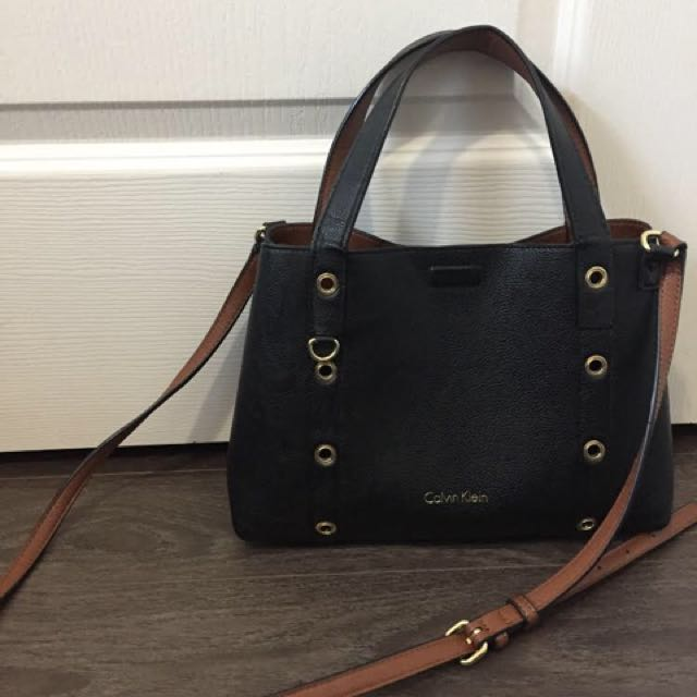 Calvin Klein Black & Brown Leather Revisable Bag