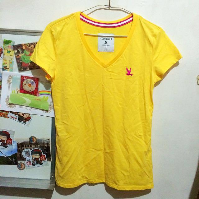 CC DOUBLE O黃色V領上衣