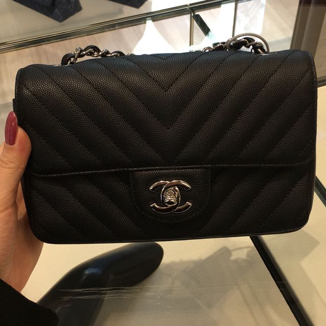 00459d8624a137 Chanel Mini Rectangle in Chevron Calfskin (Matte), Luxury, Bags ...