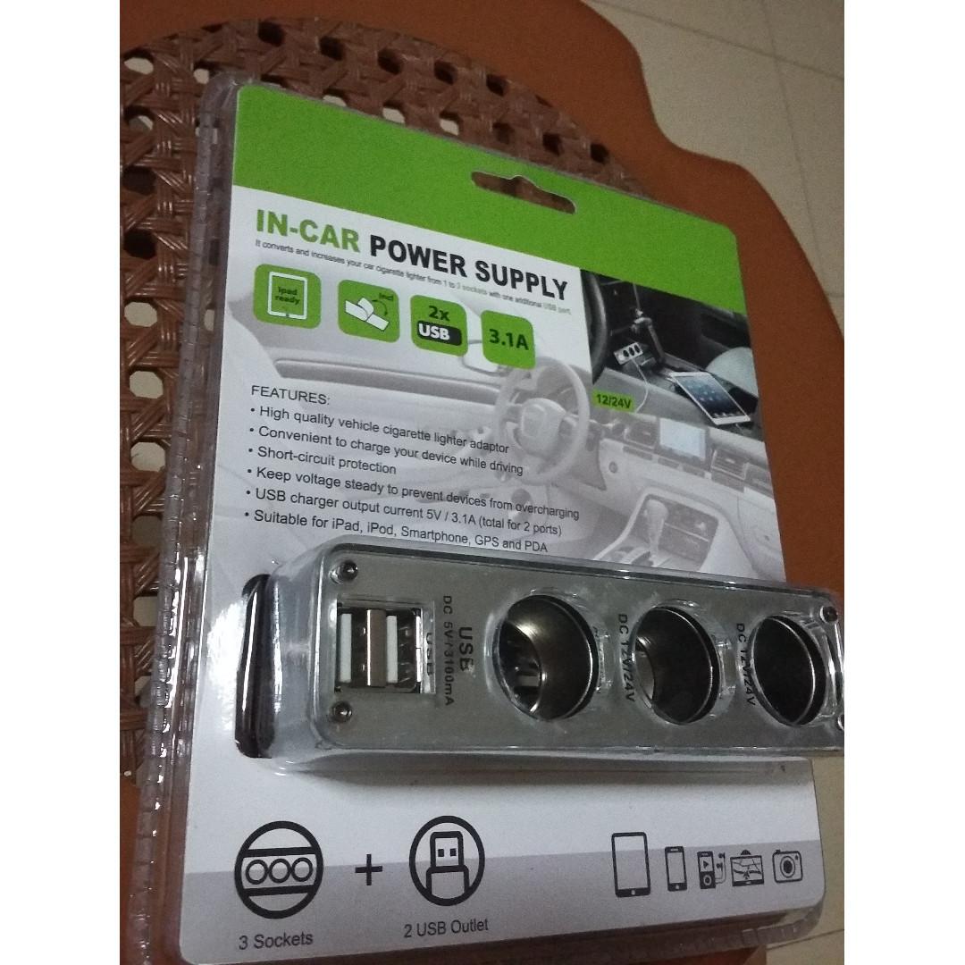 Cigarette Lighter Splitter Car Charger 31a 3 Socket Power Adapter Outlet Short Circuit Photo