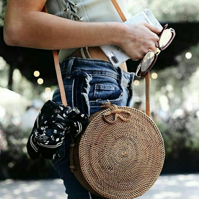 Classy round rattan bag