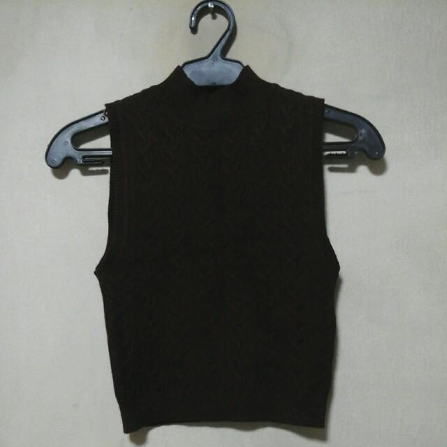 F21 knitted croptop black