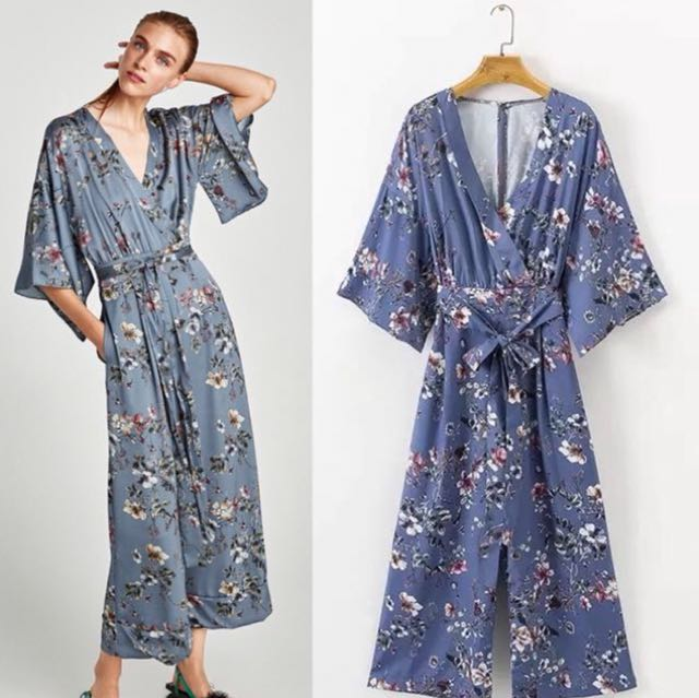 55d5631ca763 Floral Jumpsuit with kimono sleeves Crossover Neckline Inspired Zara ...