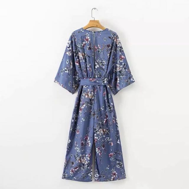 84c8d478fdc Floral Jumpsuit with kimono sleeves Crossover Neckline Inspired Zara ...