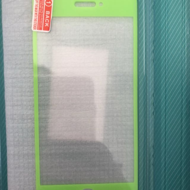 Fluro green tempered glass screen protector iPhone 5-5s