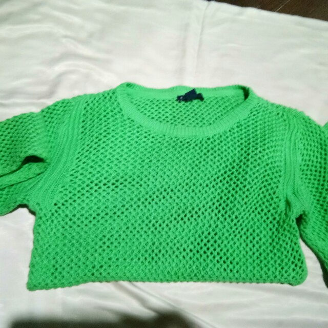 GapKids green knitted mesh sweater top