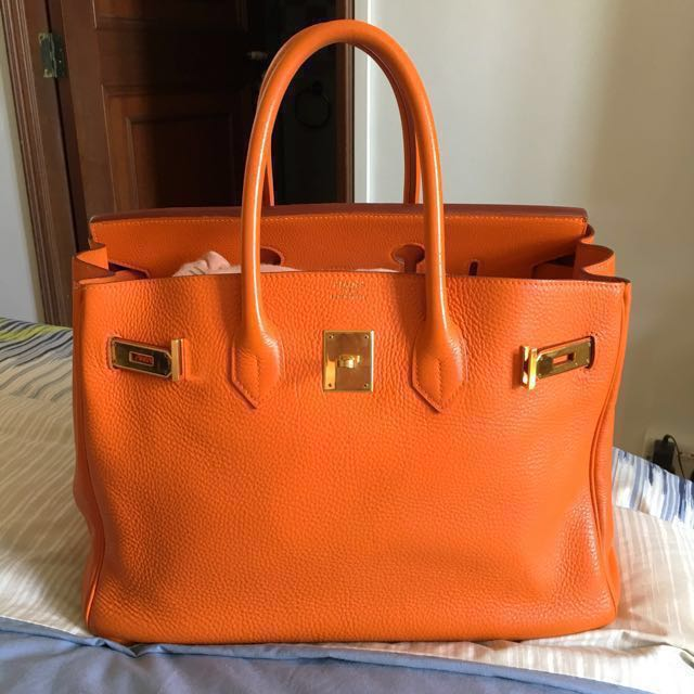 GD PRICE Hermes Birkin 35 in Orange Clemence GHW 1759327e1