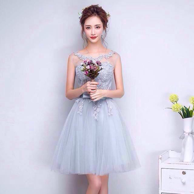 Grey Tulle Prom Dress
