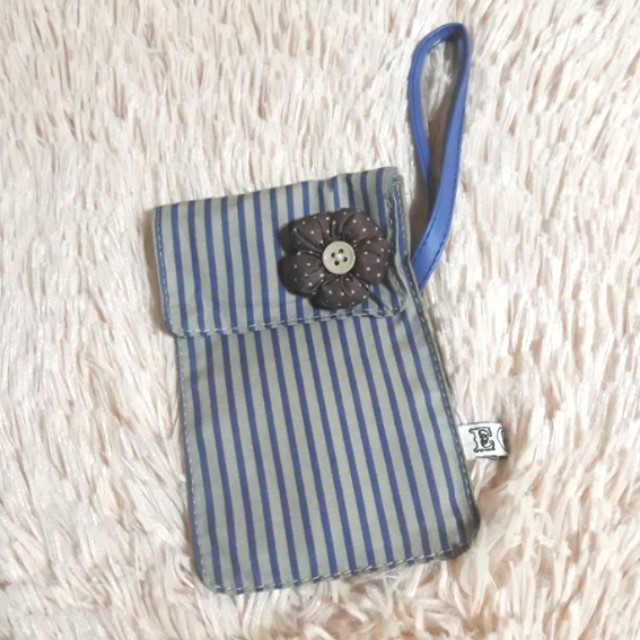EGG Grey/Blue Striped Pouch