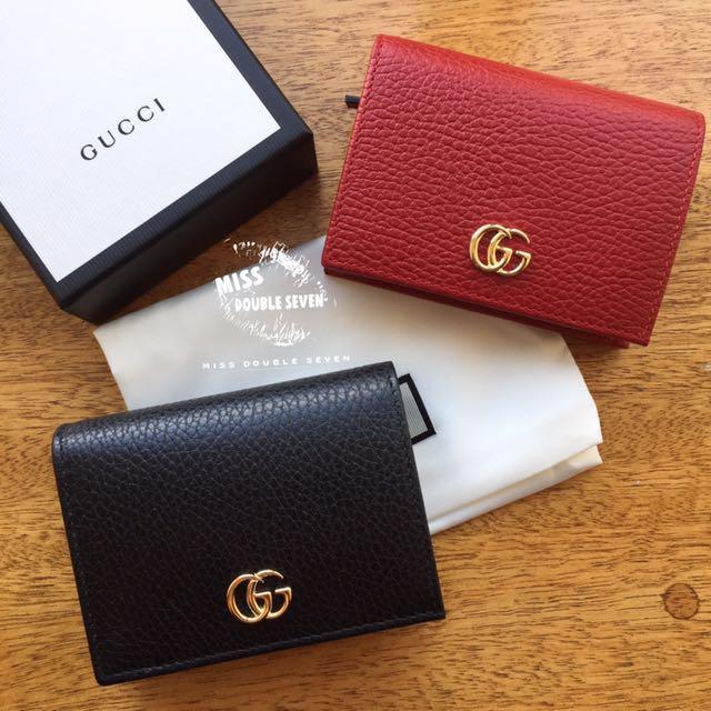 Gucci GG皮夾 Leather card case 超美❤短夾 卡包 紅色 黑色 現貨在台