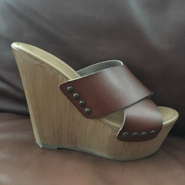 High Brown Leather Platform Shoes