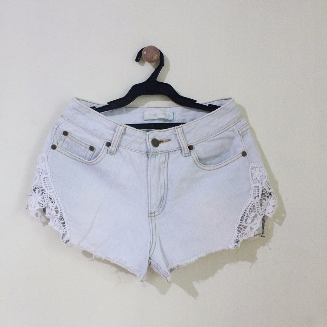 High Waist Light Washed Denim Shorts (Brand: SM True Love)