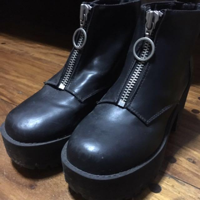 H&M Black Platform Ankle Boots