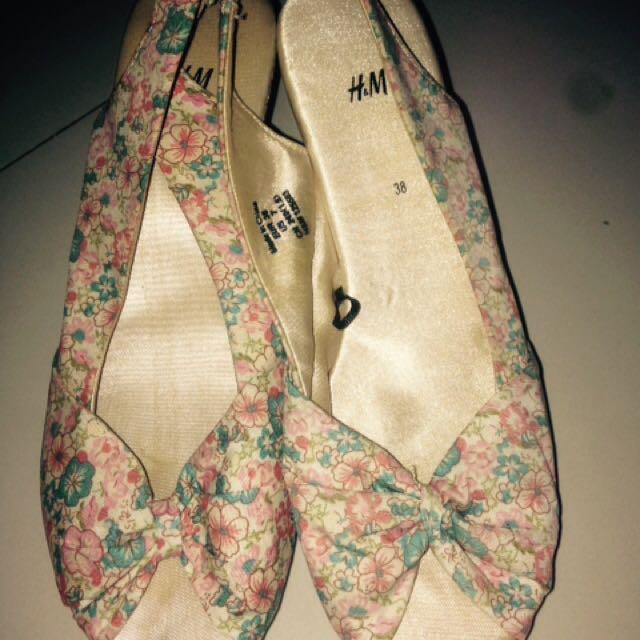 H&m Wedges, Flower, Size 38