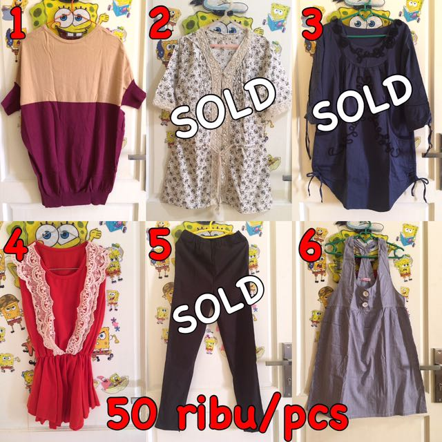 Kaos , Blouse , Kemeja , Dress , Longdress , Mini Dress , Midi Dress , Gaun , Kaftan , Outer , Overall , Celana Panjang , Rok