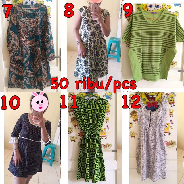 Kaos , Kaftan , Blouse , Gaun , Dress , Longdress , Mini Dress , Midi Dress , Overall , Outer , Bolero