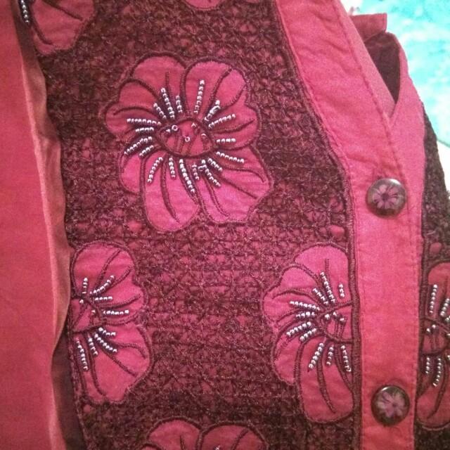 kemeja blouse korea merah maroon