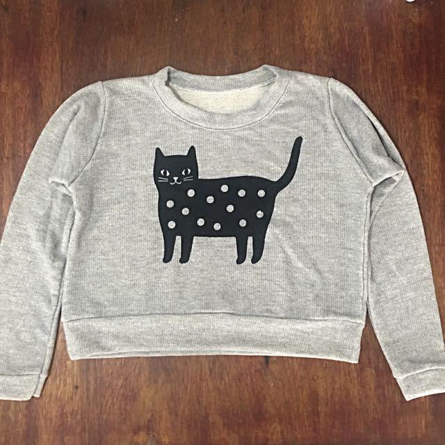Kitty Cropped Sweatshirt (Gray)