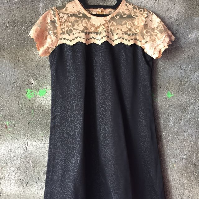 Lace Black Dress with Gold Accent