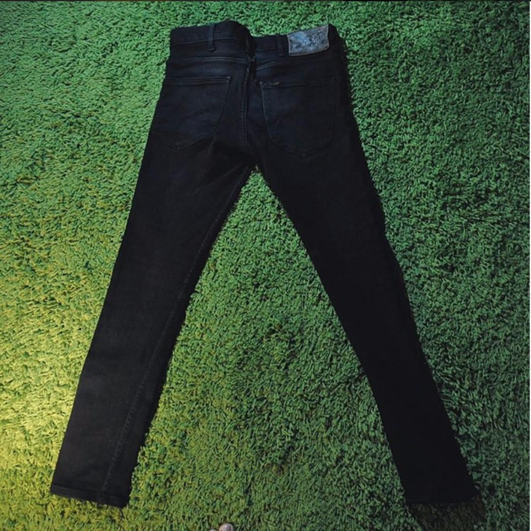 Lee Skinny Slim Fit Black Jeans Preloved Fesyen Pria Pakaian Di Lea Orange Label Pants Hitam Carousell