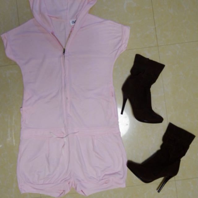 Light pink romper with hood