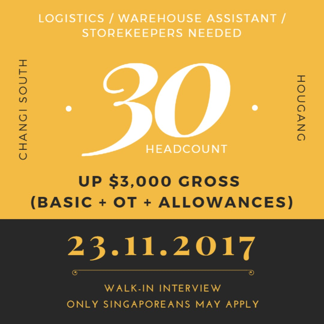 Logistics / Warehouse Assistant / Storekeeper X 30 (UP $3K)