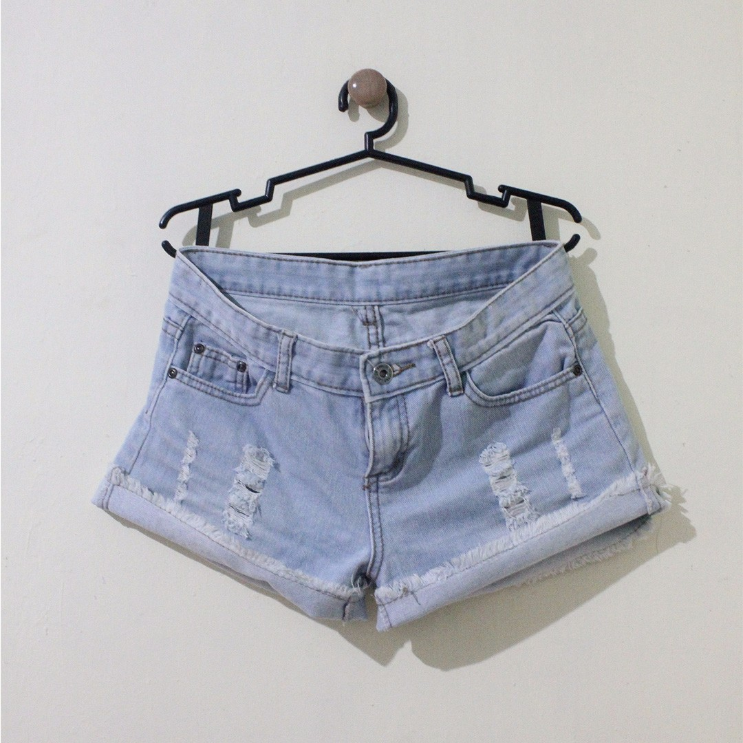 Mid-Rise Light Washed Denim Shorts