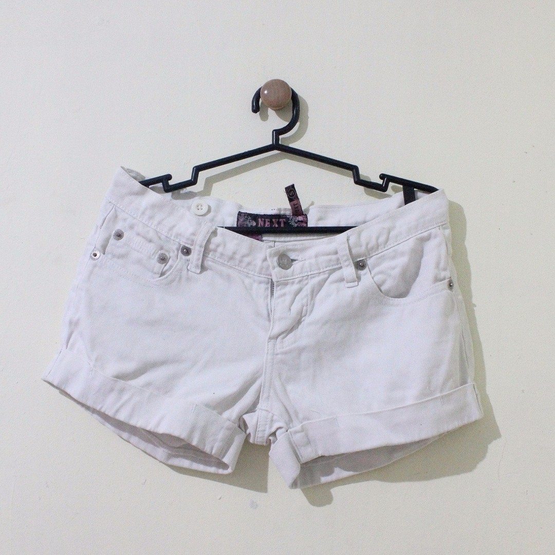 Mid-Rise White Denim Shorts (Brand: Next Jeans)