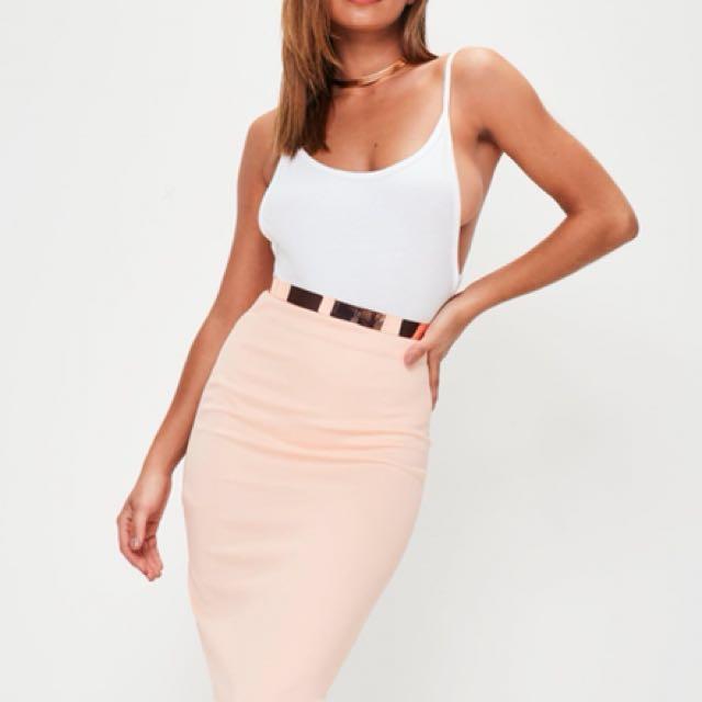 Misguided Nude / Peach Bodycon Skirt