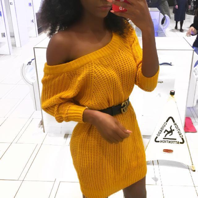 Mustard crochet off the shoulder dress