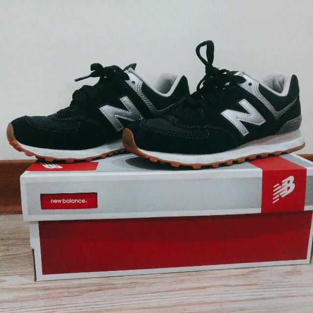 (免運)New balance 復古慢跑鞋 NB 574 黑銀 麂皮