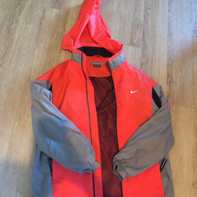 Nike orange rain jacket XS