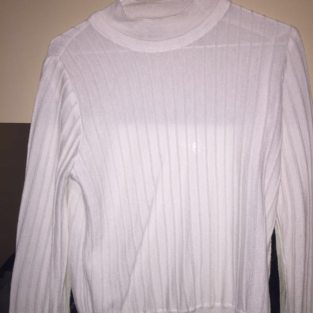 oak and fort white semi sheer turtleneck