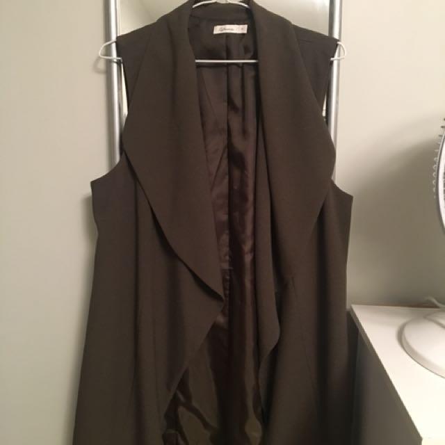 Olive green drape vest