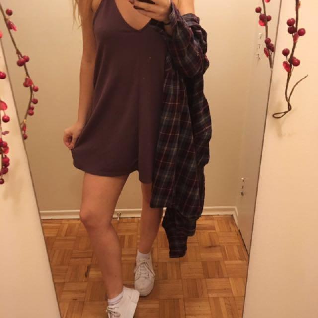 plum tank-top dress