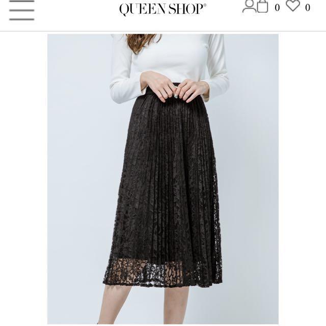 Queen Shop 百摺蕾絲裙