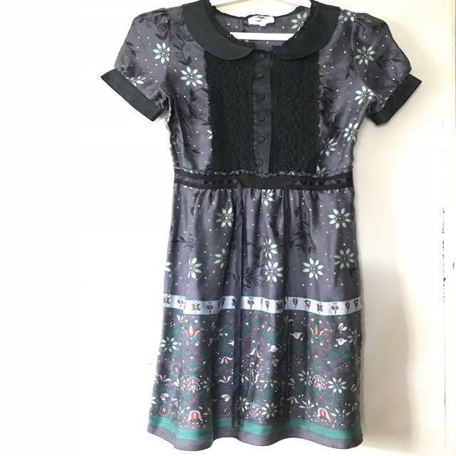 Silver floral silk dress