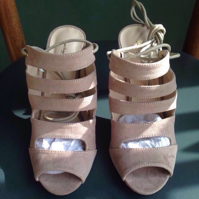 Something Borrowed Cut Out Open Toe Laced Heels Taupe Size 37