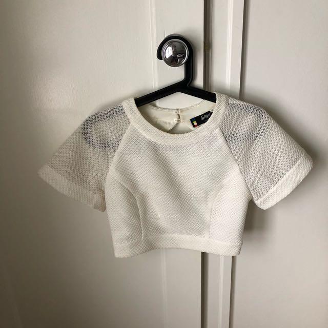 Sportsgirl White Midriff Crop Top Size 8