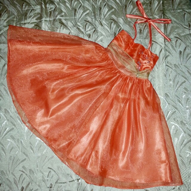 Tangerine Strappy Halter Neck Ball Gown