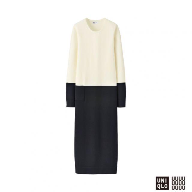 UNIQLO U Extra Fine Merino Long Dress in Monochrome Colorblock