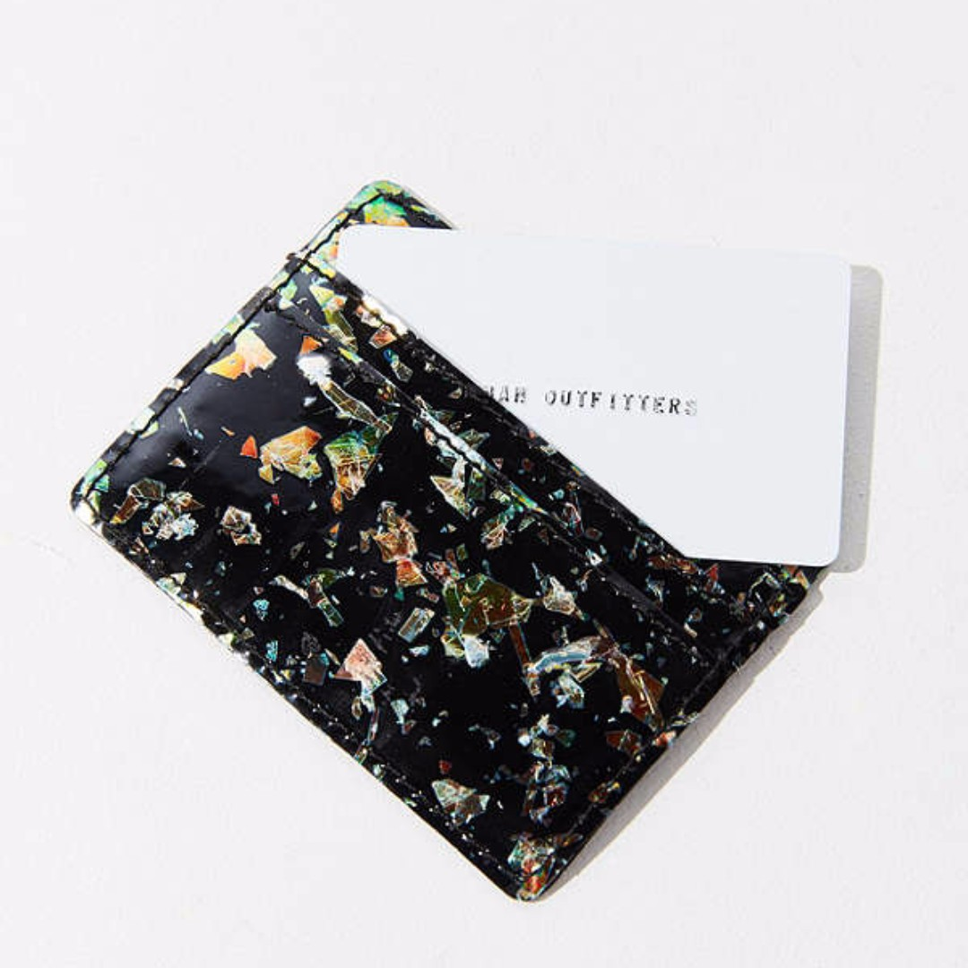 Urban Outfitters Flecked Glitter Card Case Black